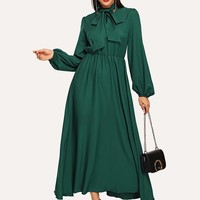 Lantern Sleeve Tied Neck Dress