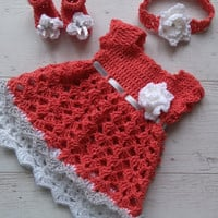 Crochet baby dress in coral silver gray and white, baby shoes and headband,
