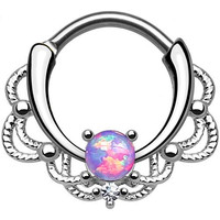 Single Opal Purple Lacey Septum Clicker 316L Surgical Steel