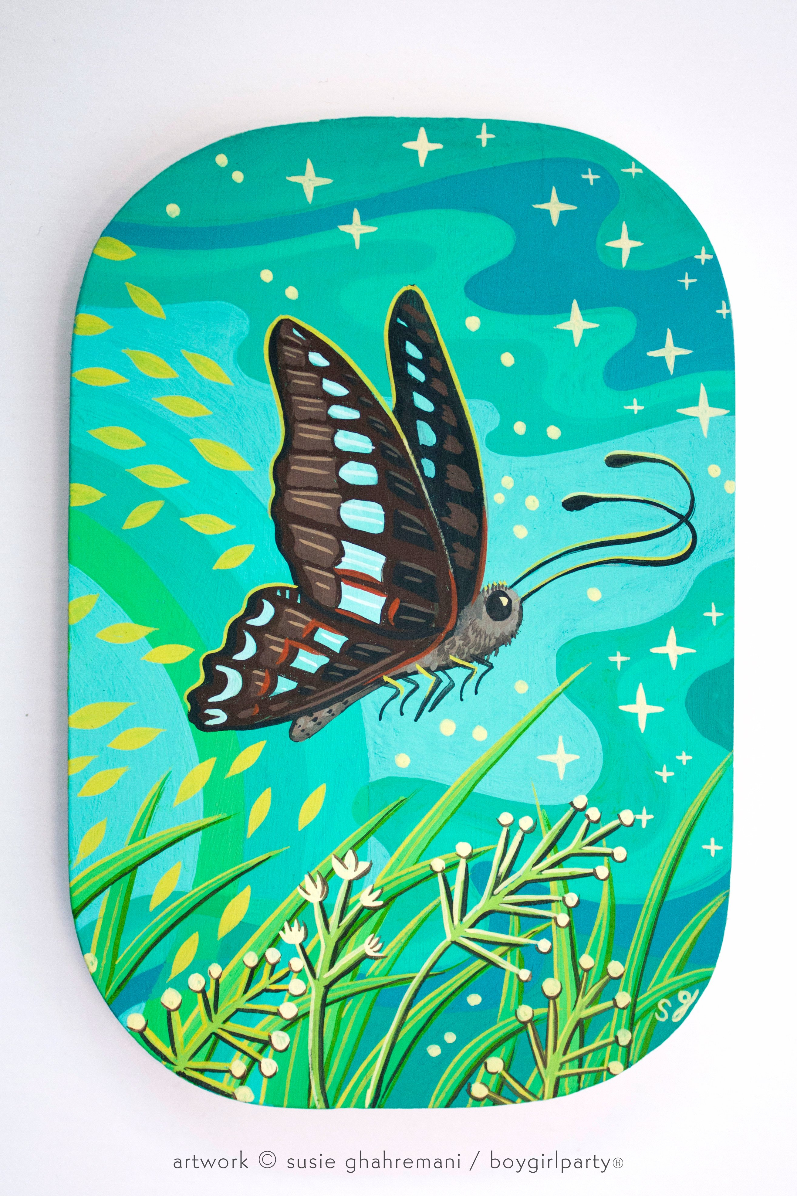 Image of Australian Butterfly Original Painting -- Artwork by Susie Ghahremani