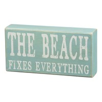 ''The Beach Fixes Everything'' Wooden Box Sign Art