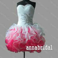 Multi-color Short Prom Dresses Sweetheart Organza White Pink Gorgeous Ruffles Mini Ball Gown Corset Homecoming Cocktail Beaded Sequins 2015
