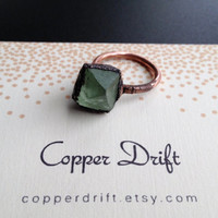 Fluorite Ring - Green Statement Ring - Unique Ring - Raw Stone Ring - Copper Ring - Semiprecious Stone Ring - SIZE 6.5