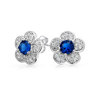 Bling Jewelry Blue Floral Studs