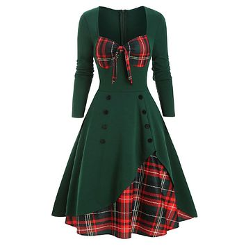 Plaid Button Embellished Bowknot Sweetheart Dress for Women