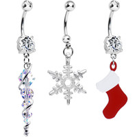 Handcrafted Clear CZ Winter Wonders Christmas Dangle Belly Ring 3 Pack | Body Candy Body Jewelry