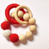 Red crochet teething beads, Baby Valentines gift, Valentines day baby toys