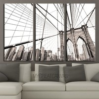 LARGE Wall Art 3 Panel Canvas Brooklyn Bridge + Ready to Hang + New York Skyline Stretched on