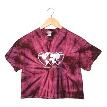 Love Revolution Plum Tie-Dye Graphic Unisex Crop Top