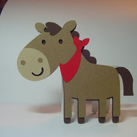 Horse Shaped Card - Brown Horse - Animal Shaped Card - Children's Card - You Pick Bandana Color