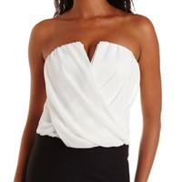 White Plunging Chiffon-Wrapped Tube Top by Charlotte Russe