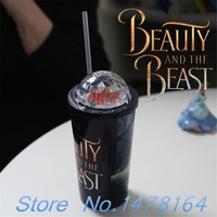 New Gifts! Beauty and the Beast 2017 Movie Cup Rose Flower Dome + Paper Bucket Straw Theater Film Collections Cosplay