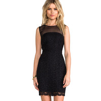 Black Mesh Lace Sleeveless Mini Dress
