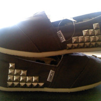 Custom studded TOMS shoes by CatalindaOFFICIAL on Etsy