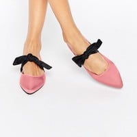 ASOS LOVEABLE Pointed Bow Ballet Flats at asos.com