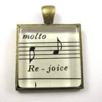 Music Note Pendant, Rejoice, from Vintage Music Sheet, in Glass Tile Square