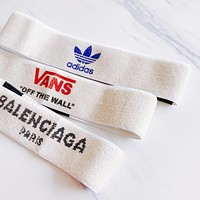 Adidas X Vans X Balenciaga Fashion Sports Headband Gym Yoga Headband Front Hairband Running Sweat-Absorbing Letter Head Band I12165-1