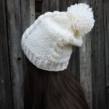 FREE SHIPPING White knit hat Slouchy hat Beanie with pom pom Cable knit Hand knitted hat Women's men's winter hat Ski hat Unisex bobble hat