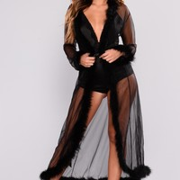 Tickle My Fancy Long Robe - Black