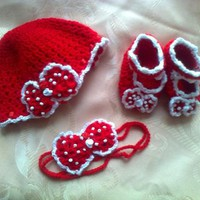 Red baby hat headband shoes