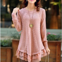 Women's sweaters and long sections Korean fashion lace pullover sweater loose sweater = 1920482244