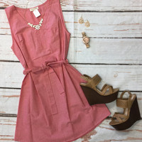 Chambray Sleeveless Dress: Red