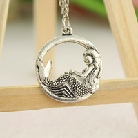 necklace--The little mermaid necklace,antique silver charm bracelet,love gift,alloy chain