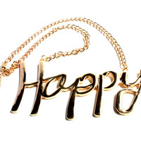 """""""Happy To Be"""" Gold Pendant Necklace"""