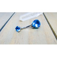 Titanium teardrop belly button ring 14g internally threaded hypoallergenic body jewelry curved barbell pick your color