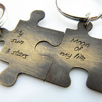 Set of TWO, My sun & stars, Moon of my life, Personalized Puzzle Piece Set, Puzzle Pieces, Puzzle Piece Keychain Set of 2
