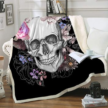 "Sleepwish Skull Blankets Queen Size Soft Fleece Throw Blanket Rose Skull Print Gothic Skeleton Sherpa Blanket for Bed Couch Sofa Chair Office (90"" X 90"")"
