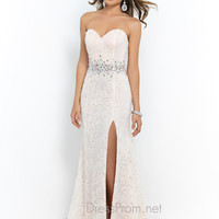 Blush Fitted Lace Prom Dress 9937