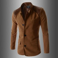 Swagger Dynasty Slim Fit Solid Color Patchwork Single Breasted Blazer Outerwear Male Suit.