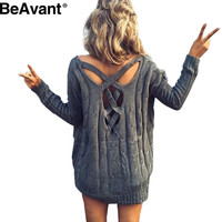 BeAavant Criss cross top Backless knitted sweater women 2016 Oversized winter knitwear Loose jumpers white pullover outwear