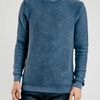 Indigo Acid Wash Textured Crew - Topman