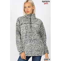 Soft Sherpa Half Zip Pullover With Pockets
