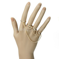 Chic Simple Women Adjustable Alloy Four Finger Tassel Chain Rings Golden Tone