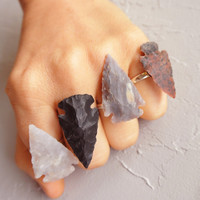 Arrowhead ring Tribal Flint Arrowhead Stone Adjustable Ring