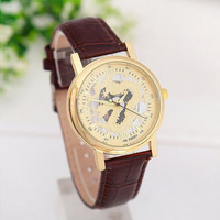 Men's Sports Gold Tone Dragon Watches with Brown Leather Strap Novelty