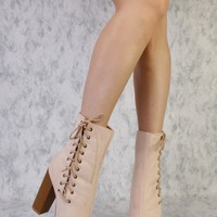 Nude Side Lace Up Pointy Toe Single Sole Chunky High Heel Booties Suede
