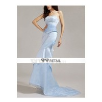 Trumpet/ Mermaid Sweetheart Sweep Train Satin Organza Evening/ Prom Dress TPDWD093 - Prom Dresses - Special Occasion Dresses