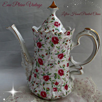 Lefton Rose Chintz Coffee Tea Pot 660R White Pink Roses Gold Trimmed