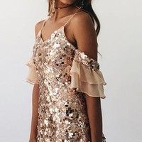 Out Shining Sequin Cold Shoulder Sleeveless Spaghetti Strap V Neck Mesh Ruffle Mini Dress - 2 Colors Available - Sold Out