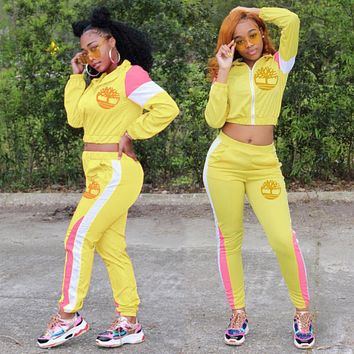 Timerland New Popular Women Casual Round Collar Top Pants Set Two-Piece Yellow