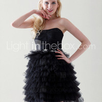 Ball Gown Sweetheart Short/ Mini Tiered Taffeta Tulle Cocktail Dress - US$ 129.99