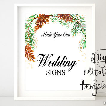 """8x10"""" - DIY Printable sign template for Word. Make your own wedding signs featuring pinecones and pine branches"""