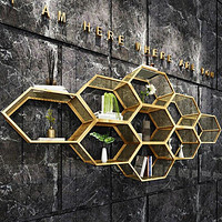Golden Geometric Iron Made Wall Shelf