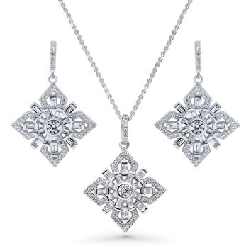 Sterling Silver CZ Art Deco Flower Necklace and Earrings SetBe the first to write a reviewSKU# vs544-01