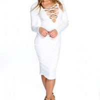 Sexy White Long Sleeve Lace Up Front Midi Party Dress