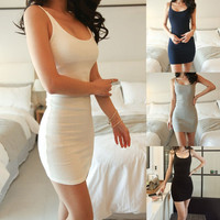 Fashion Sexy Women Sleeveless Backless Casual Body con Strap Dress Solid Color